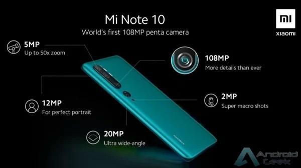Configuração da câmara Penta do Mi Note 10 detalhada numa nova imagem renderizada 2