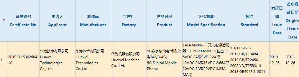 Huawei Mate Xs com carregador super rápido de 65W certificado pela China Compulsory Certificate (3C) 2