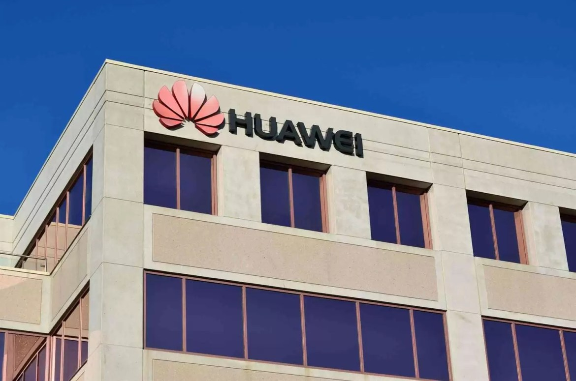 Logotipo destacado do edifício Huawei