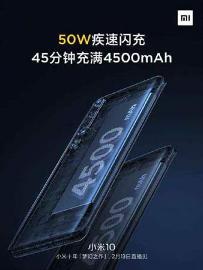 O Xiaomi Mi 10 possui uma bateria de 4.500mAh com carregamento rápido de 50W e carregamento sem fio de 30W 1