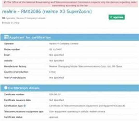 Realme X3 SuperZoom passa pelo Geekbench que revelam especificações, tem várias certificações