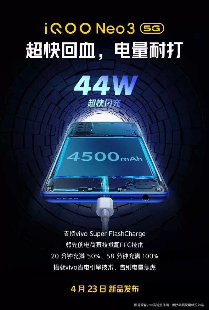 O iQOO Neo3 da vivo terá uma bateria de 4.500mAh que carrega em menos de uma hora