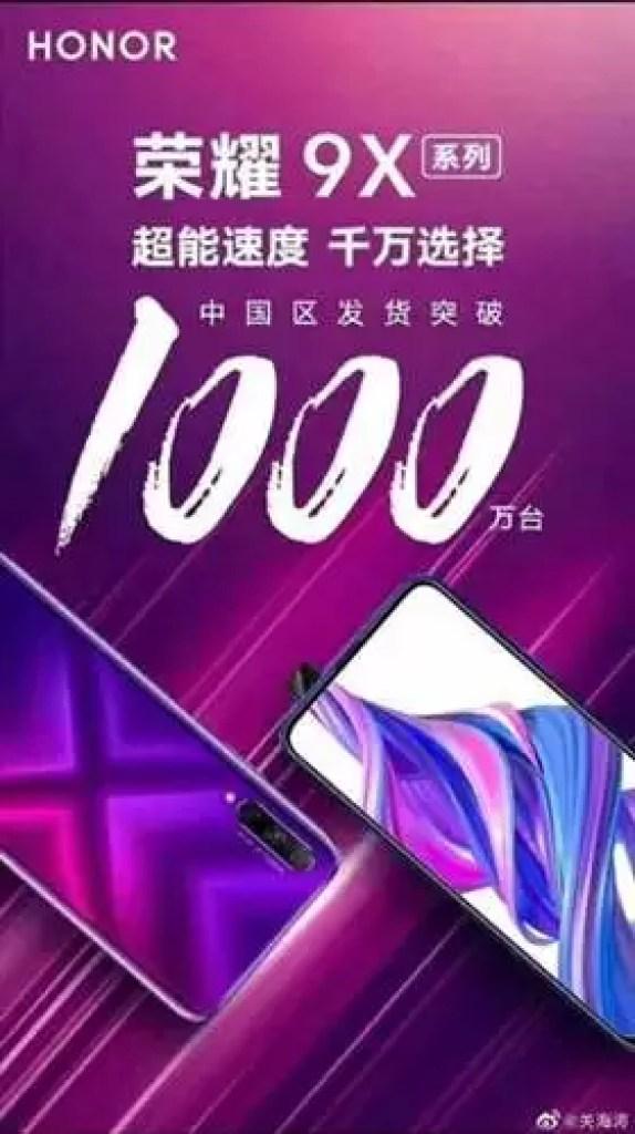 Honor 9X ultrapassa 10 milhões de unidades vendidas na China 2
