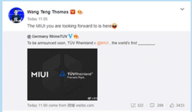 Redmi Wang Teng MIUI 12 Tease TUV Renânia