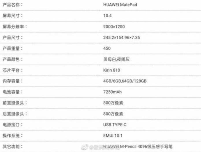 Especificações Huawei MatePad, ecrã de 10,8 polegadas, Kirin 810, EMUI 10.1 e mais 1