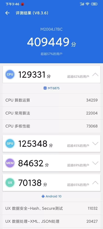 Dimensão testada 820 5G no Redmi 10X