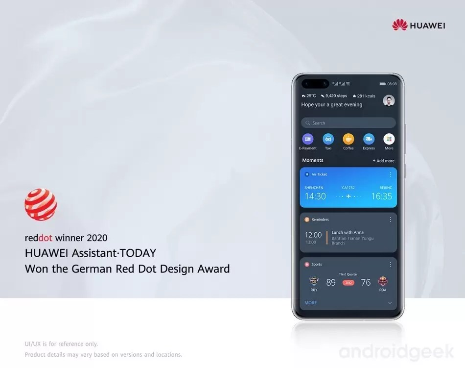 Huawei Assistant ·Today vence prémio Red Dot 2020 1