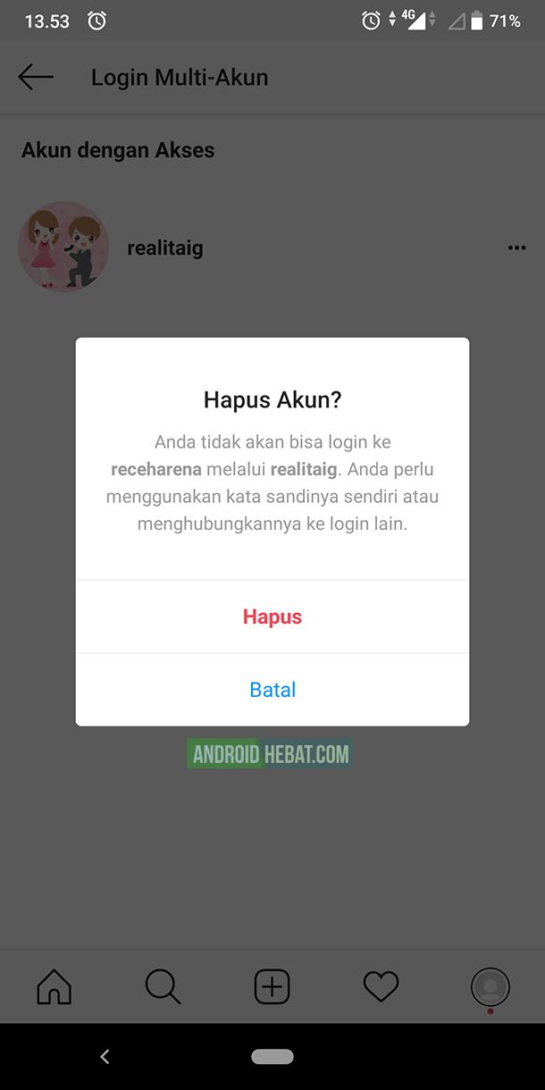 cara unlink akun instagram di android