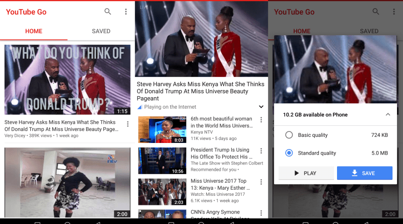 YouTube Go app for Android screen grabs