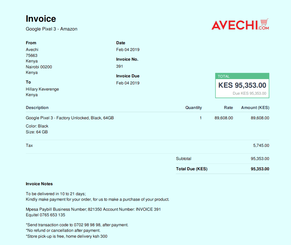 Avechi invoice for global shopping