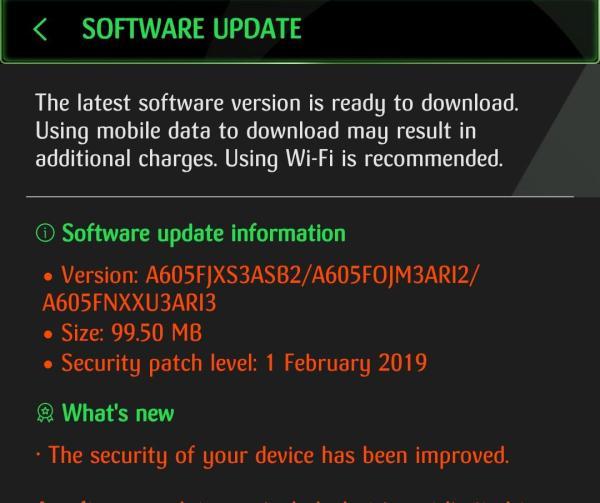 Samsung Galaxy A6+ Feb 2019 security update