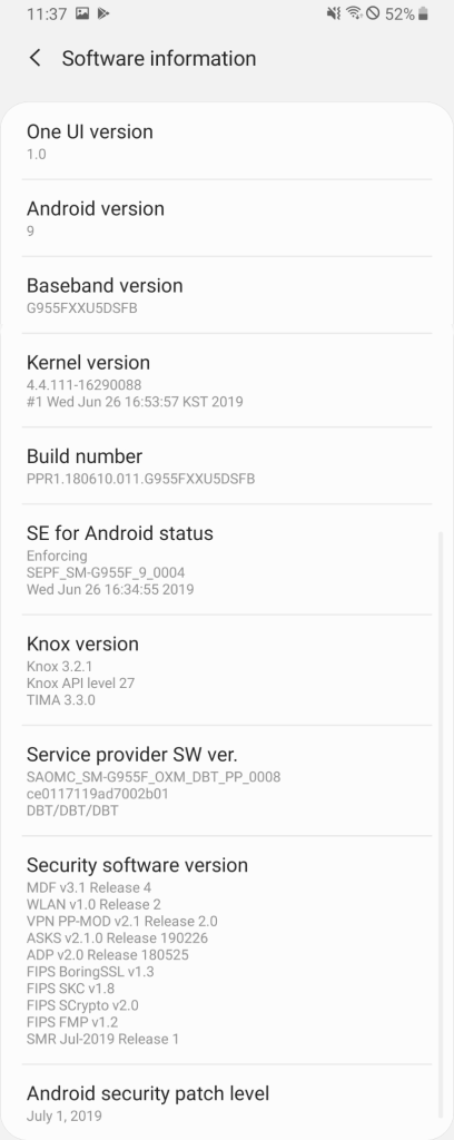 Samsung Galaxy S8 July 2019 security update