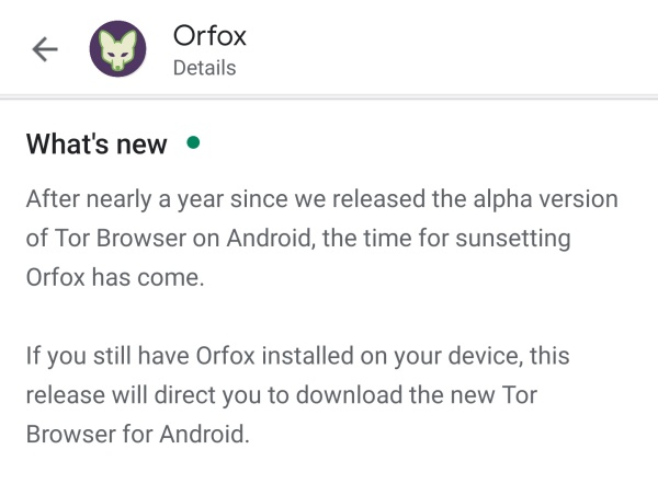 Latest Orfox update directs users to install new Tor Browser app