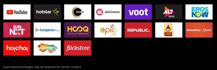 List Of Content Partners with Mi TV 4X 55-inch 4K HDR