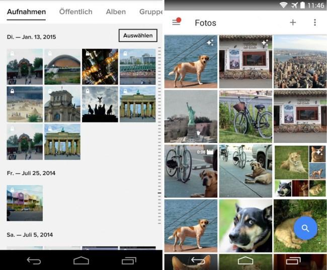 """Der Online-Dienst Flickr (links im Bild) von Yahoo darf sich Testsieger nennen. Auf dem zweiten Platz landete """"Google Fotos"""" (rechts)."""