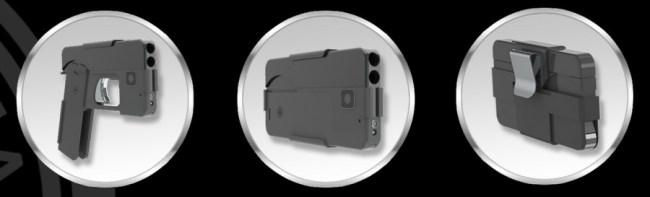 Die Selbstverteidigungspistole von Ideal Conceal sieht in zusammengefaltetem Zustand aus wie ein Smartphone. Auseinandergefaltet kann sie zwei Schüsse abgeben. (Foto: Ideal Conceal)