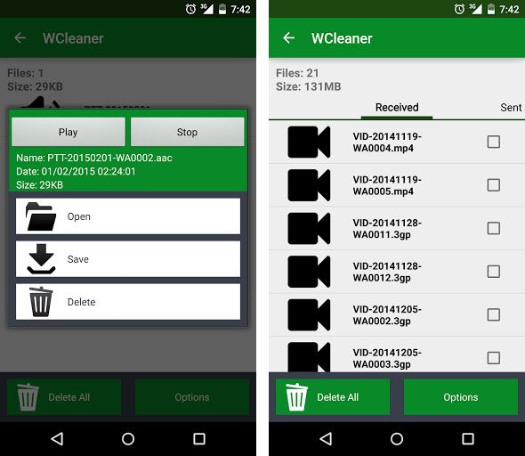Mit dem WCleaner können Sie empfangene Bilder und Videos löschen – oder aber in andere Ordner verschieben.