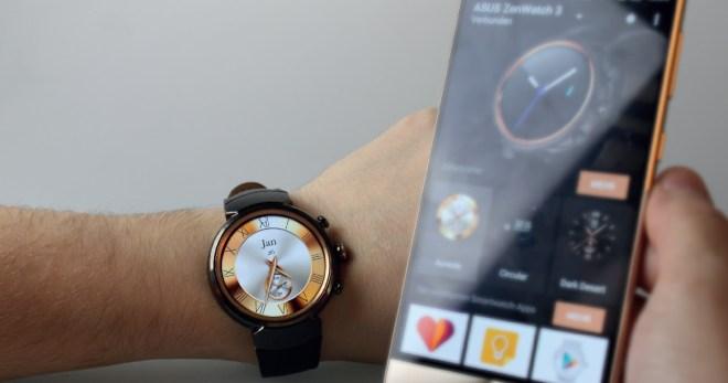 Die ZenWatch 3 wird via Bluetooth oder WiFi mit dem Smartphone verbunden. Egal, ob Sie Termine haben, E-Mails bekommen oder ein Chatfenster aufpoppt, die Uhr informiert Sie umgehend direkt am Handgelenk. Daneben misst die smarte Uhr auch Ihre Fitnessdaten und lauscht auf Zuruf Ihren Befehlen.