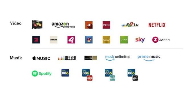 """In der Liste der """"A1 Free Stream""""-Partner sind viele namhafte Musik- und Videoanbieter enthalten. (Grafik: A1 Telekom Austria)"""