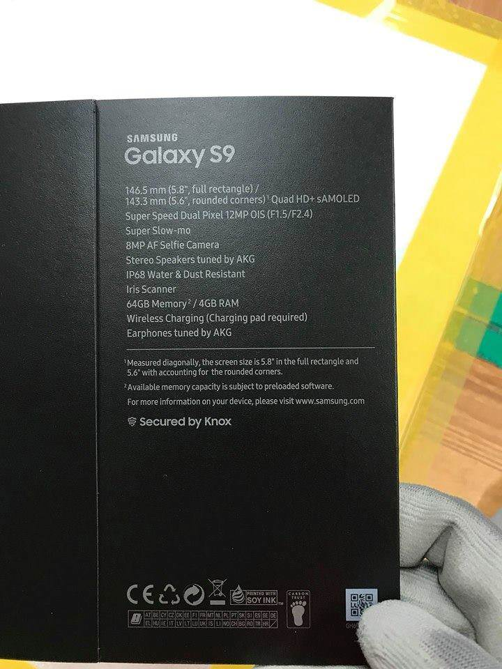 Galaxy S9 retail box leaked