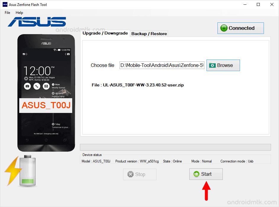 asus zenphone flash tool start