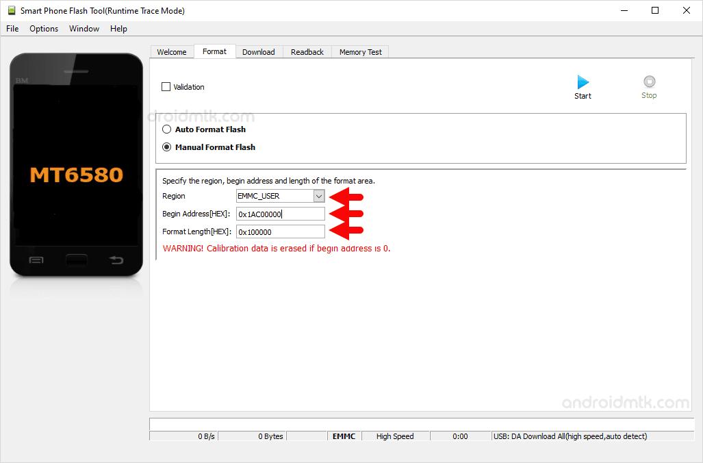 mt6580 0x4fa0000 0x100000 manual format parameter