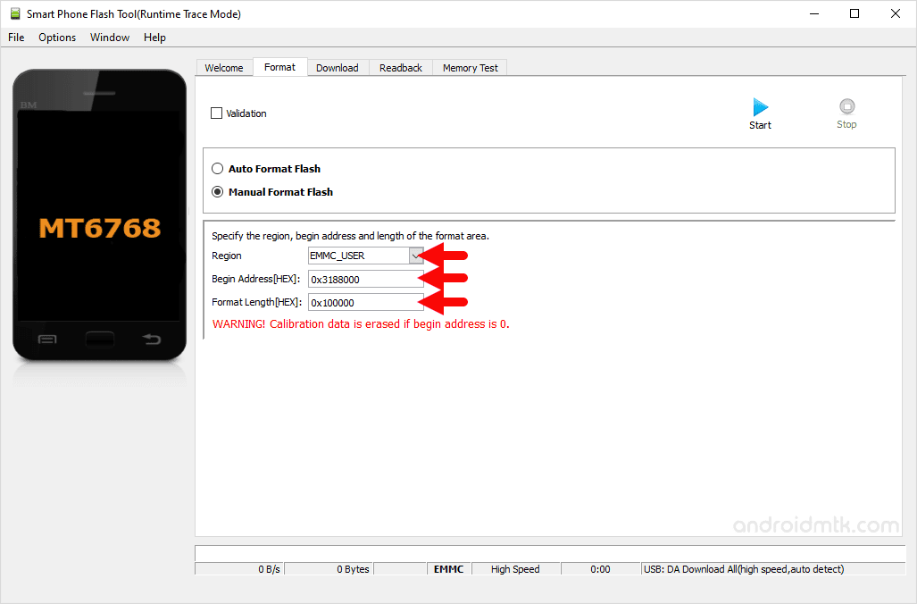 MT6768 0x3188000 0x100000 Manual Format Parameter