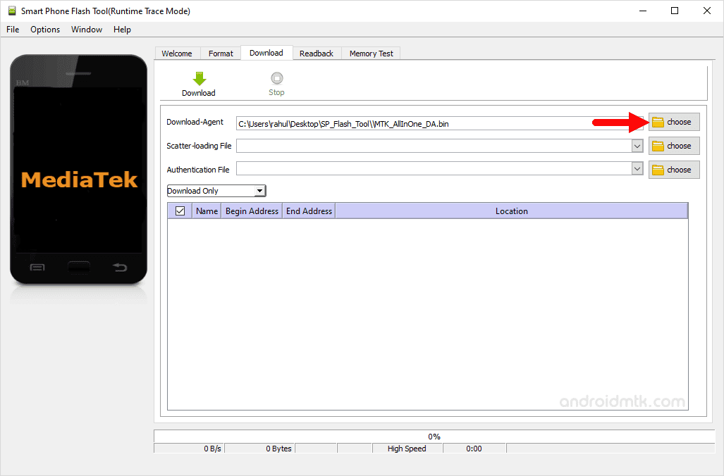 sp flash tool download agent