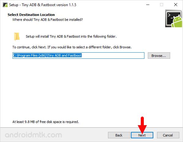 Tiny ADB and Fastboot Setup Location