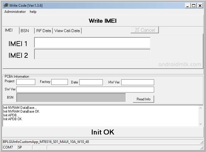 Write Code IMEI Tool