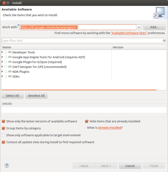 plugin google android sdk kepler-install