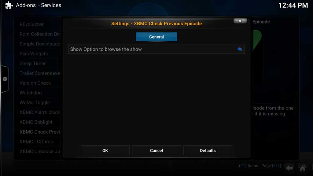 Addons Settings - XBMC Check Previous Episode