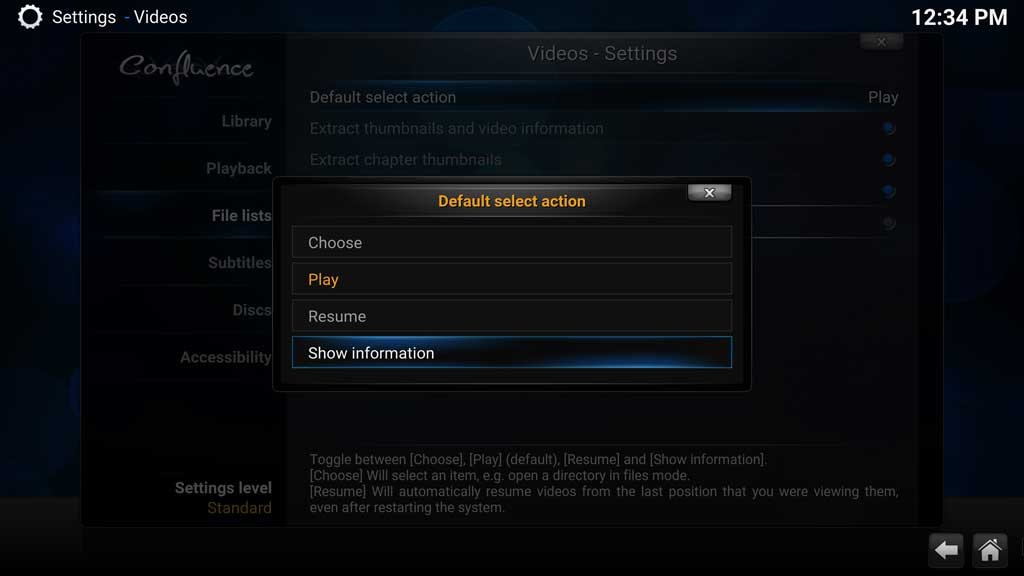 Kodi System Video Settings Show Information