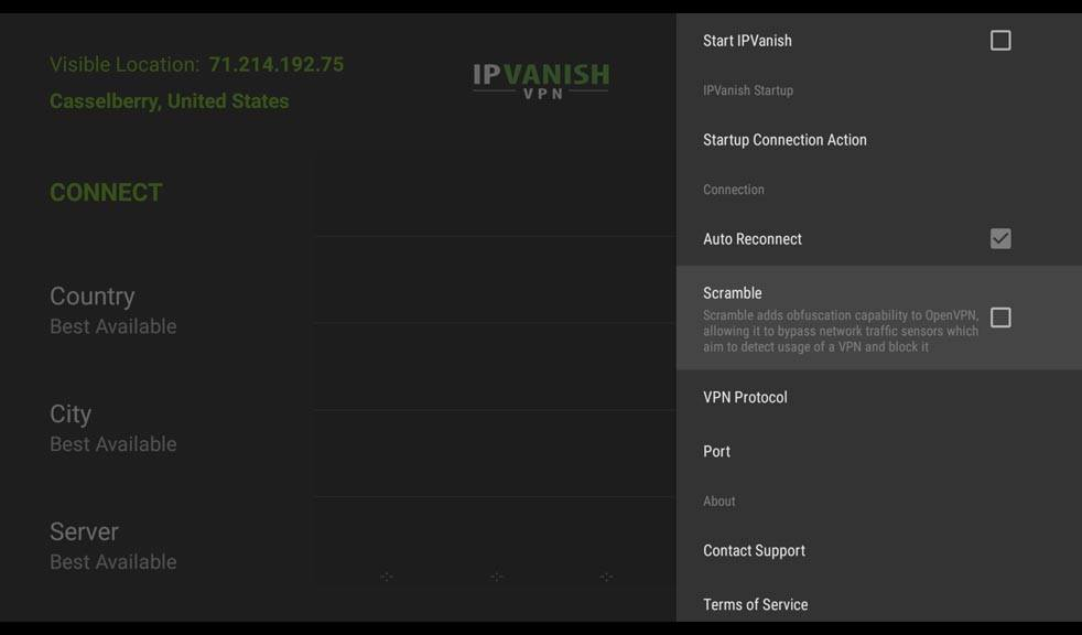 IPVanish Settings