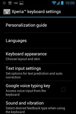 XPeria KB settings