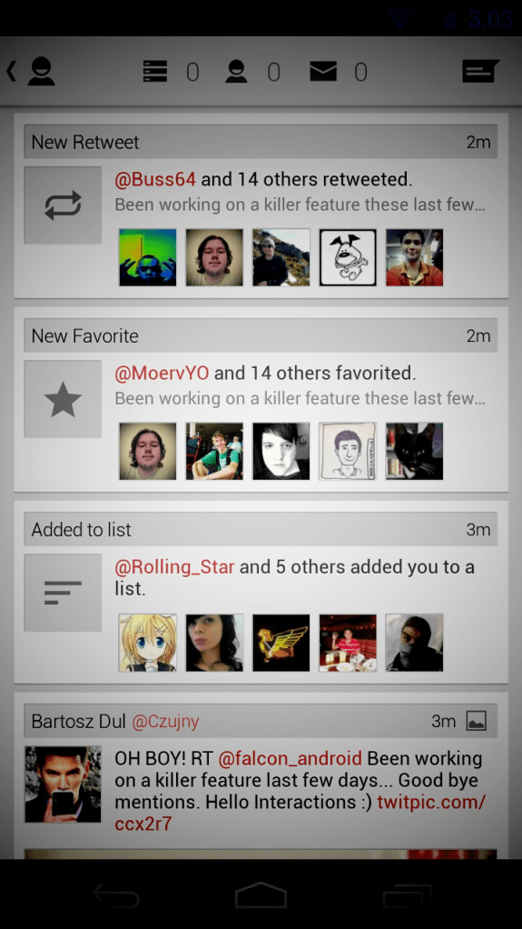 Falcon for android Interactions tab