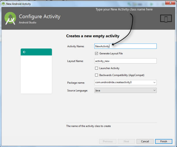 configure new-activity- how to create another activity in android studio