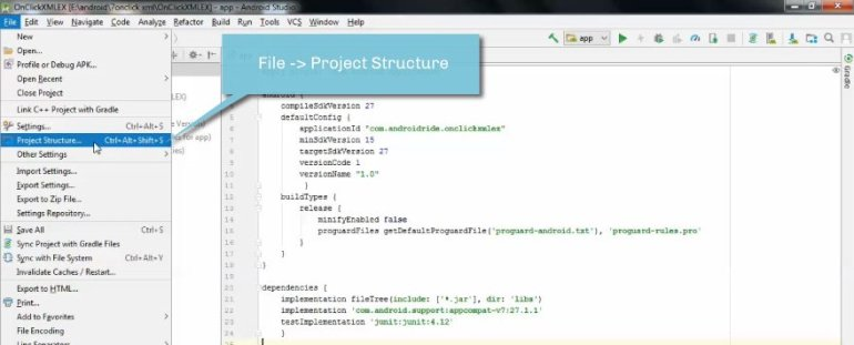 file project structure - how to add support library in android studio