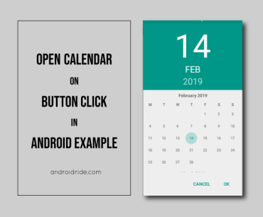 open calendar on button click in android example