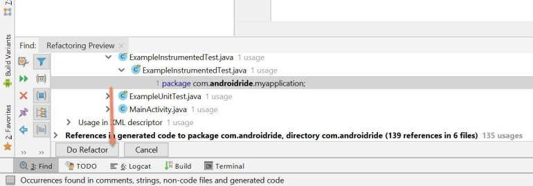 rename android app package name