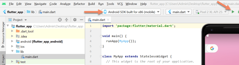 flutter run project android studio