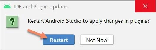 restart android studio ide dialog