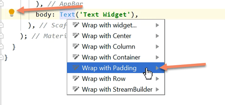 Android Studio Shortcut For Flutter Padding Widget