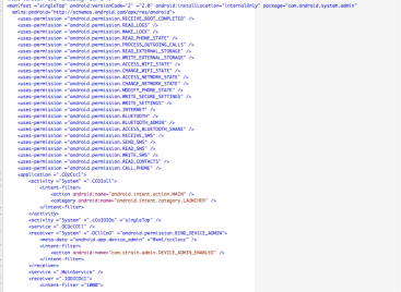 Figure 12 - Contents of AndroidManifest.xml file