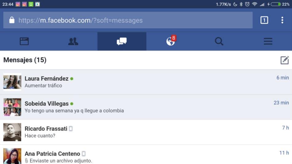 Facebook en el navegador del movil (1)