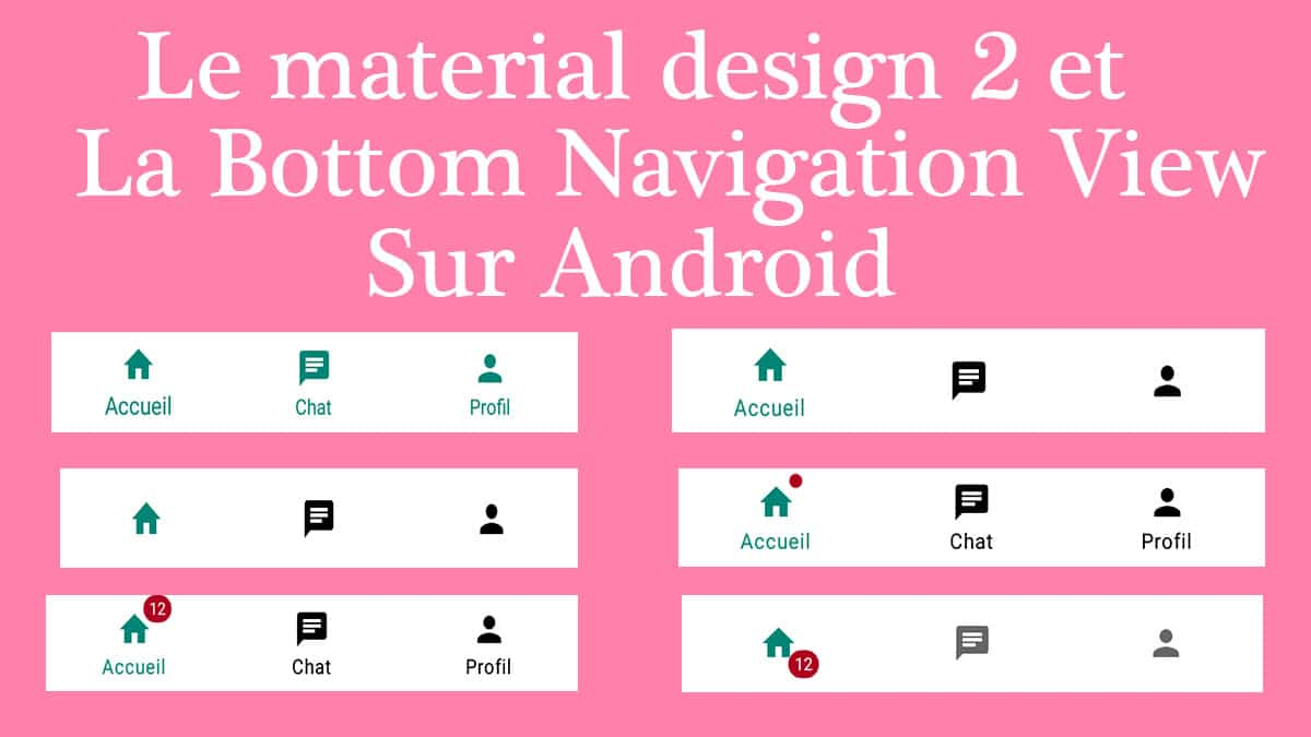 material design 2 et le bottom navigation view sur android