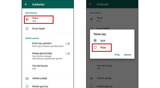 WhatsApp Karanlık Mod Etkinleştirme