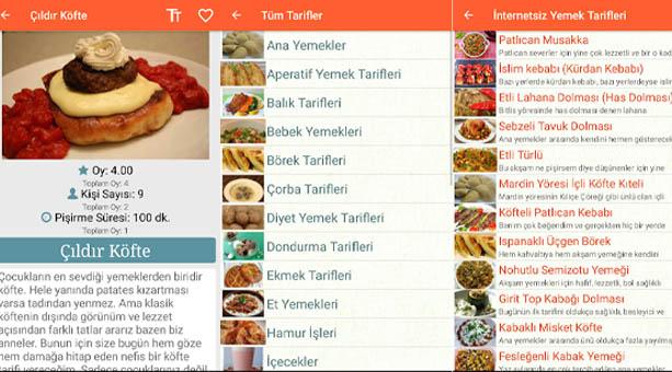 internetsiz yemek tarifi uygulaması 2020