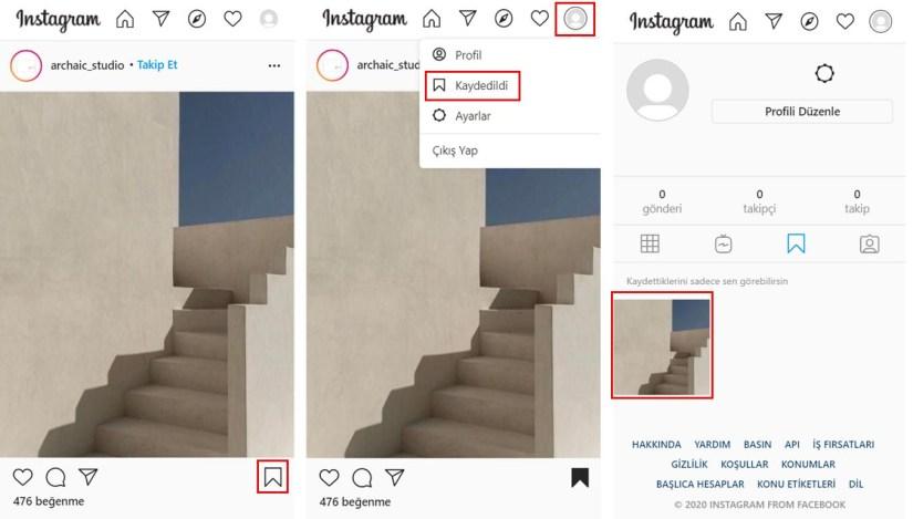 instagram görselleri yer imlerine ekleme 2020