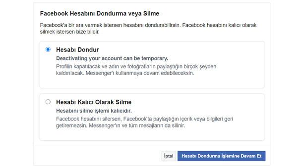 Facebook hesabını devre dışı bırakma işlemi 2020